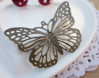 The porous butterflies hollow out butterfly Pure copper/bronze / wedding/50x35mm Environmental protection DIYaccessories/10PCS/ B20372