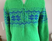 Chadwick's Sweater 90's Bright Green Nordic Style Ladies Small Zip Pullover