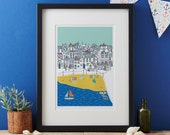 Seaside Scene art print,coastal art print,matted print, ready to frame art print, coastal art, design led art,made in the UK