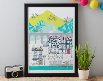 Cycling art print designed by Jessica Hogarth - art print - ready to frame - colourful digital print on matte card - matted print