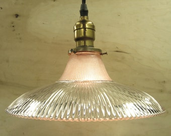 8630 Industrial Holophane Shade on Custom Braided Cloth Cord Pendant w/ Antique Socket 2 Available