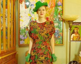 Retro 30's Fall Floral Tea Dress . Chic Vintage 80s Autumn Rhapsody Day Dress . Flirty Peplum . PHOEBE label . Vermilion Green Brown Floral.