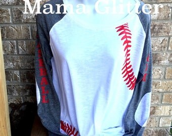 Baseball Laces T-Shirt, baseball mom shirt, Long Sleeve preppy Tee- Number and name on back, Baseball Mom on sleeve
