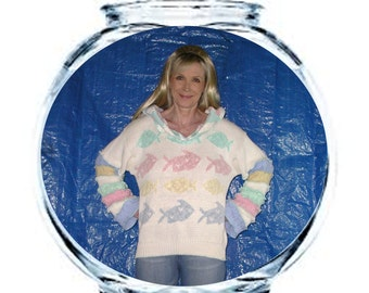 """Elf Hoodie DEPOSIT Special Order """"Fish Bowl"""" Size Large White With Pastels Pink Aqua Seafoam Pale Blue And Yellow Pixie Pullover Jumper"""