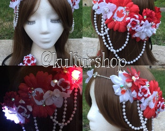 SALE Ready to Ship LED Canada inspired goddess flower crown headband