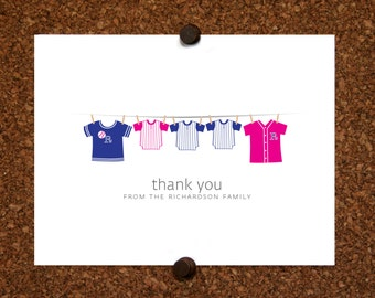 Triplet Baseball Thank You Cards. Baseball Jersey. Baby Shower Stationery. Baby Thank Yous. (Set of 10)