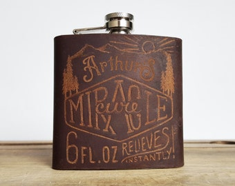 Customised Leather Flask, Miracle Cure Hip Flask, vintage look, personalised gift