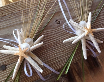 Starfish Beach Deco for Cake Handles (2) with Natural Trim and White Ribbons
