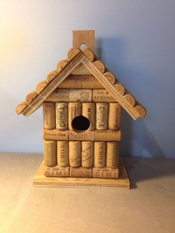Wine Cork And Wood Wooden Birdhouse Bird House Handmade With