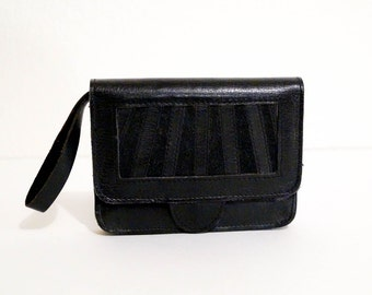 Vintage Wallet Black Leather and Suede Wristlet with Mirror 1970s