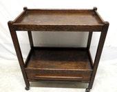 Antique Ebony Golden Tiger Oak Rolling Tea Cart Wine Liquor Server Trolley Bar Implement Drawer Teacart Cabinet