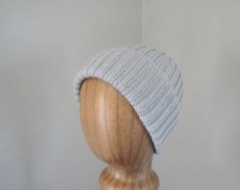 Cashmere Blend Hat, Pale Silver Gray, Hand Knit, Beanie Cap, Women