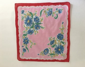 SALE!  Vintage Handkerchief, Vintage Hankie, red and pink floral hankie