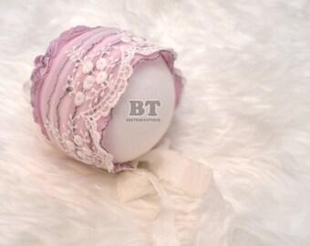 Pink Lace Bonnet - Newborn photography props