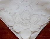 Vintage Hankie Handkerchief Linen Off White Hand Appliqué Embroidery Wedding Sheer Organdy Floral Silk