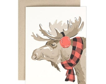 Buffalo Check Moose- Greeting Card