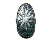 Vintage Mexican Sterling Abalone Pot Leaf Ring Size 9