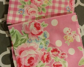 Super cute Floral and Polka Dot and Gingham Fabric 1 yard of each for a Total of 2 yards