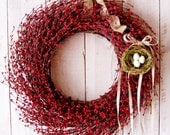 LARGE Spring Wreath-Spring Decor-Spring Summer Door Wreath-Front Door Wreath-Red Berry BIRDS NEST Door Wreath-Rustic Primitive Country Decor