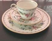 "Aynsley England Fine English Bone China Pembroke 3 pc: 8"" plate, tea cup and saucer"