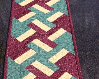 Table Runner- Christmas Braid- Handmade Quilted Runner