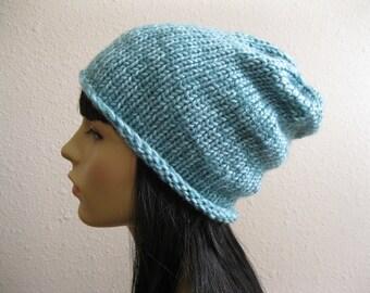 Knit Beanie - Aqua Slouchy Beanie - Beanie Hat - Knitted Slouchy Beanie - Winter Hats - Beanies - Knit Beanie Hat - Slouchy Beanie Hat