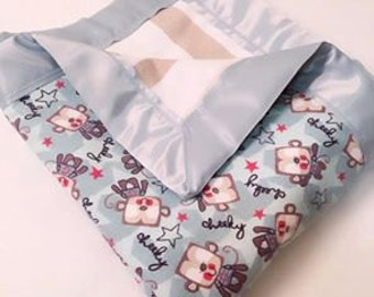 Cheeky Monkey Double Sided Flannel Blanket w/ Satin Binding