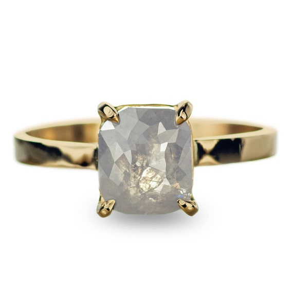 Grey Diamond 14k Gold Engagement Ring by PointNoPointStudio
