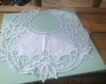 Vintage White Battenburg Lace Collar, Vintage Clothing Accessories-Lace Collars, Battenburg Lace #39