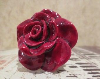 Red Rose Ceramic Wine Stopper