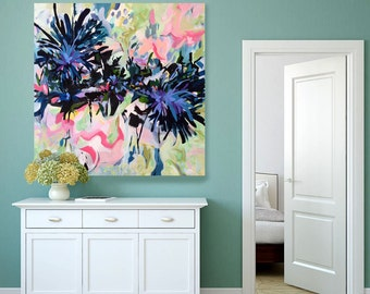 Large abstract painting, floral, contemporary art, expressionistic, acrylic painting, wall decor, pink, blue, floral, FREE SHIPPING