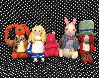 Alice in Wonderland Dolls-Set of 5-Handmade