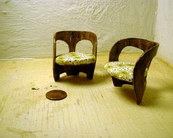 A Modern Contemporary Retro dining chair dollhouse miniature ooak 1/16th