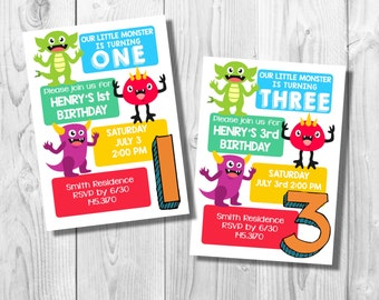 Customized Monster Birthday Party Invite- Digital File