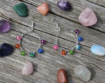 Boho Rainbow Glass Beaded Hoop Earrings. Gypsy Hippie Chakra Bohemian Statement Earrings. Wire Wrapped, Silver Plated, Handmade Glass.