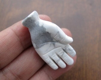 NEW ARRIVAL Carved turquoise howlite mini hand pendant  , drill, Jewelry making supplies S6659