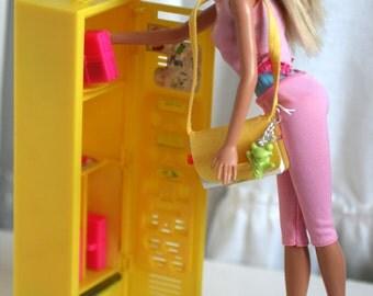 Vintage Barbie Doll Locker, Yellow Barbie Locker and Accessories, Back To School Barbie.