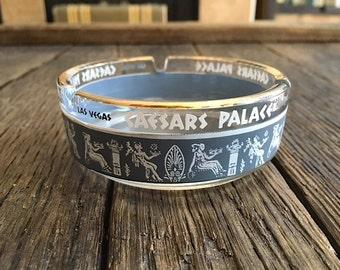 Caesars Palace Collectible Ashtray Las Vegas Nevada Glass Caesars Palace Ashtray With Gold Rim