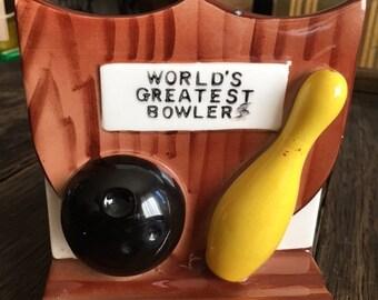 ON SALE World's Greatest Bowler Ceramic Relpo Vase Planter Or Desk Caddy