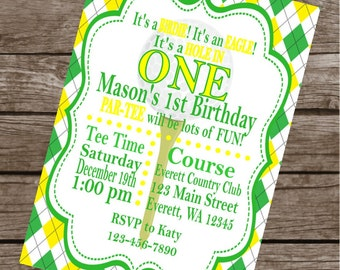 PREPPY GOLF Happy Birthday Party or Baby Shower Invitations Set of 12 {1 Dozen} Green Yellow - Party Packs Available