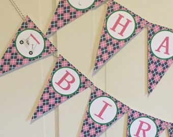 GIRLY ARGYLE GOLF Argyle Happy Birthday or Baby Shower Party Banner - Pink Green Navy - Party Packs Available