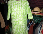 Vintage 50's Green and White Lattice Print Jacket and Skirt