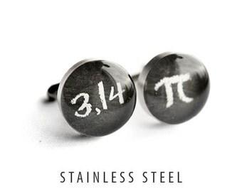 Pi Cufflinks, Math Cufflinks, Stainless Steel cufflinks science cufflinks geekery cufflinks, wedding cufflink, groom, groomsmen
