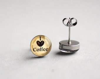 Coffee lover post earrings, Surgical steel stud, Tiny earring studs