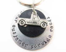 Hand stamped - your customer service rocks - keychain