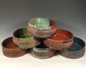 Personalized 1 Medium Dog dish- One Custom Bowl - Choose your text and color- ceramics - pottery - stoneware - pets - feeding
