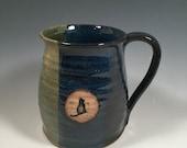 Pottery Mug -  Ceramic Coffee Cup - 16 oz - Ready to Ship - Monet Blue Green -Black Cat stamp  - ceramics - pottery - stoneware