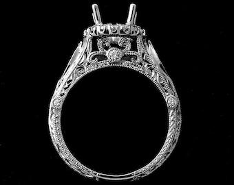 Vintage Diamond Halo Proposal Ring, Filigree Hand Carved Engagement Ring, Milgrain Engraved Platinum Ring, Antique Style Ring Setting