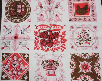 Vintage Linen Towel of Block Prints of Birds, Flowers, Ships