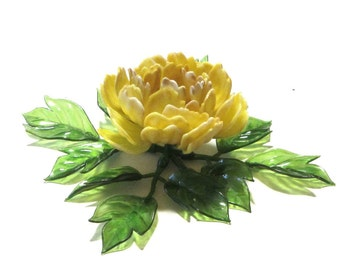 Vintage Yellow Chrysanthemum 60's Table Wall Decor Resin Acrylic Flower and Leaves C.K. Ind. Co. Ltd